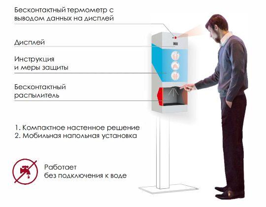 Бесконтактный дезинфектор с измерителем температуры